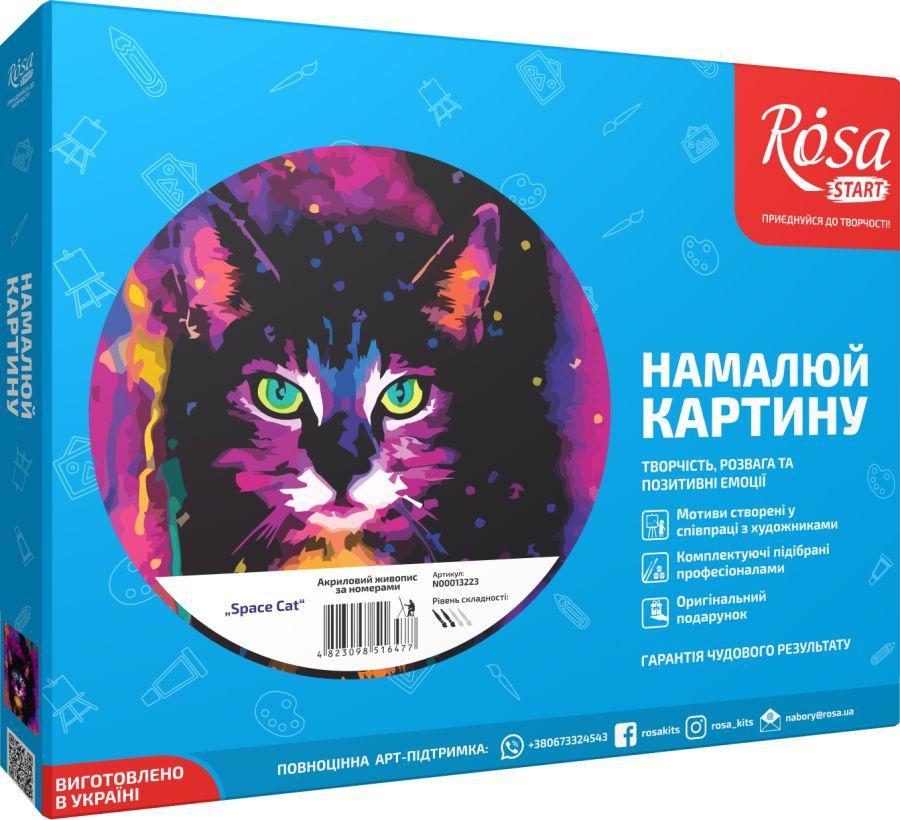 """Картина по номерам в подарочной упаковке. Космический кот """"Space cat"""" 35х45см ROSA START Бесплатная Доставка"""