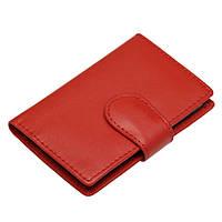 Кредитница карманная, 10 листов, кожзам, магнитная застёжка, красная