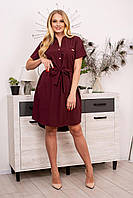 Платье рубашка большие размеры бордо