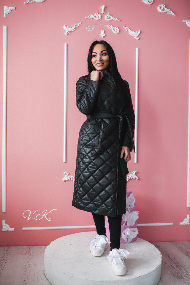 Плащевое женское стеганное пальто на весну-осень tez600280