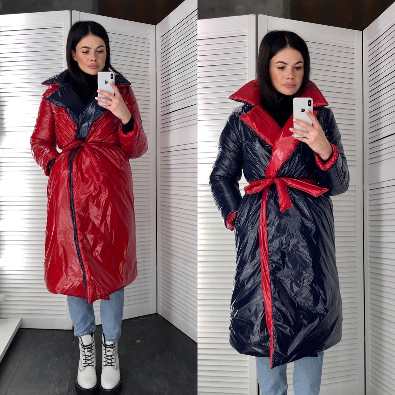 Женское двухсторонее зимнее пальто под пояс с отложным воротником tez6002259
