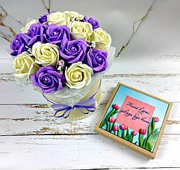 Букет з мильних квітів, 17 троянд. Букет із мила. Подарунок мамі, вчительці, подрузі, дружині
