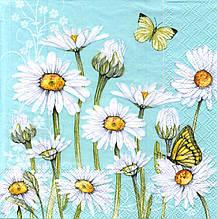 Декупажная салфетка Нежные ромашки и бабочки 8381