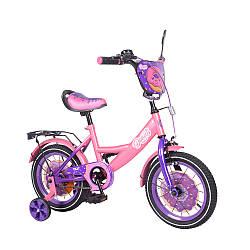 """Велосипед 2-х колісний Donut 14"""" T-214214/1 (1шт) pink+purple з дзвінком, дзеркалом, та ручним гальмом в кор."""
