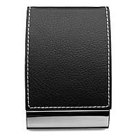 Визитница карманная,  кожзам с велюровым покрытием, магнитная застёжка, черная