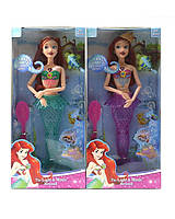 "Кукла ""Р"" 9398 2 вида, на шарнирах, свет., муз., рыбка, расческа, в кор. 33*15*5 см"