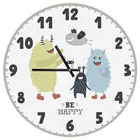 Часы настенные круглые в детскую, 36 см Be happy