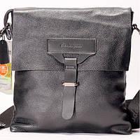 Мужская сумка на плече кожаная черного цвета