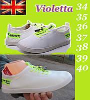 Мокасины  Violeta Whate. Белые кожаные кеды. Слипоны летние., фото 1