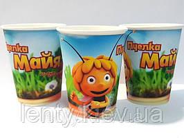 Стаканчики бумажные Пчёлка Майя  (10шт/уп. 250мл.)  одноразовые детские редкие малотиражные -