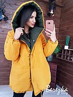 Женская двухсторонняя куртка объемная зефирка с капюшоном, на кнопках и кулиской по низу tez6601198Q, фото 1