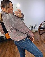 Женская короткая куртка с блестящим напылением с воротником стойкой tez301236
