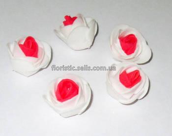Головка троянди латекс 3 см, біло-червона
