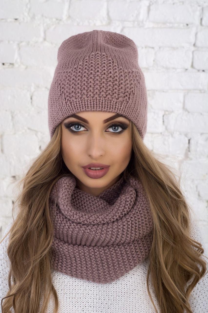 Зимний комлект вязаная шапка лопатка и хомут в расцветках tez6107211