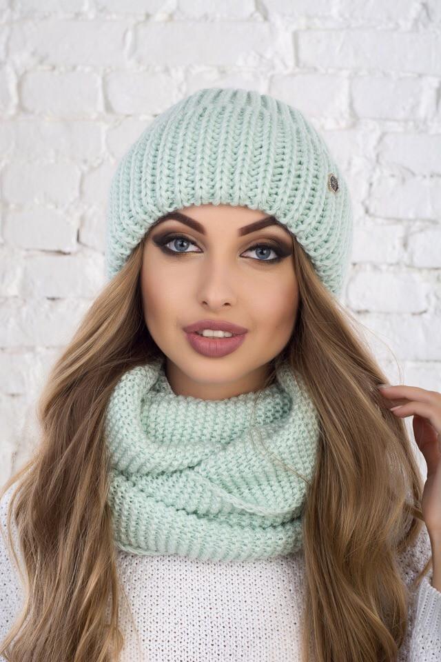Набор женский шапка и подворотом и снуд крупной вязки tez6107213