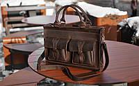 Коричневый мужской портфель для документов, Кожаная сумка для ноутбука