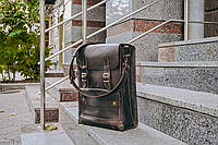 Коричневая сумка мессенджер, Кожаная мужская сумка через плечо