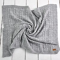 Вязаный плед в коляску и кроватку для новорожденного (серый) MagBaby