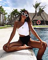 Женский слитный купальник черно-белый на одно плечо tez6818212, фото 1