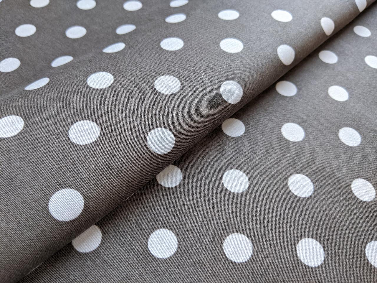 Ткань Коттон сатин горох 10 мм, белый на хаки