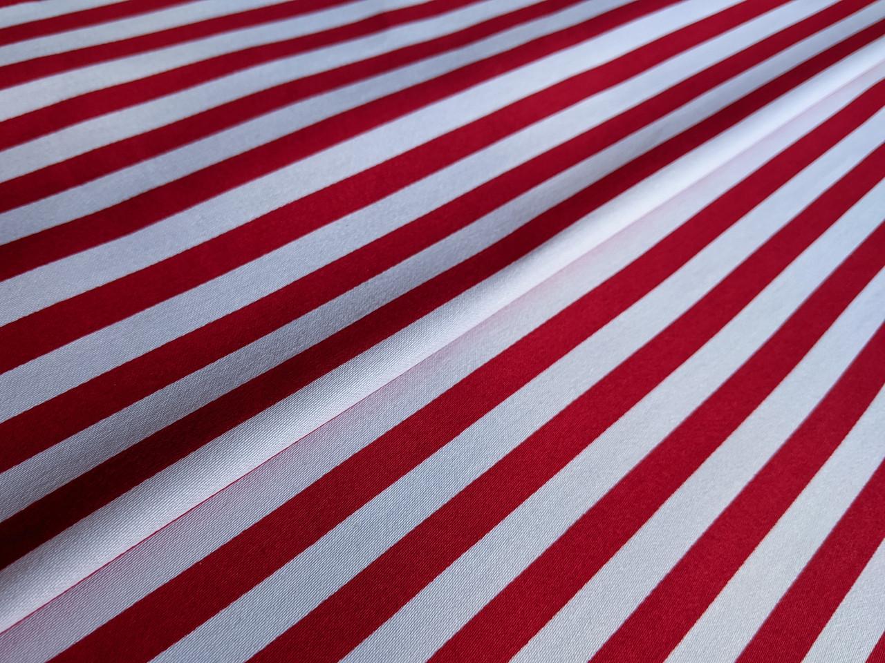 Ткань Коттон сатин полоска 10 мм, красная на белом