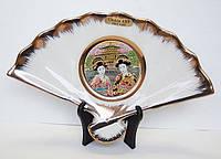 Сувенирный веер «Две майко на фоне Золотого замка»