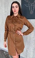 Стильное женское замшевое платье с длинным рукавом длины мини коричневого цвета   S   M   L 42-44, 46-48