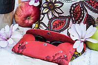Кожаный кошелек-конверт Узор цветы красный ( купюрник, чехол для смартфона, очешник, картхолдер, визитница )