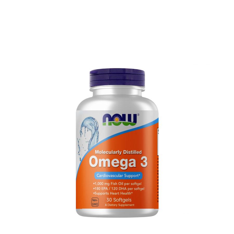Жирные кислоты NOW Omega-3, 30 капсул