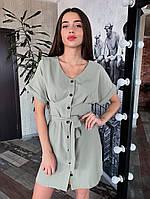 Летнее платье из костюмной ткани на пуговицах, фото 1