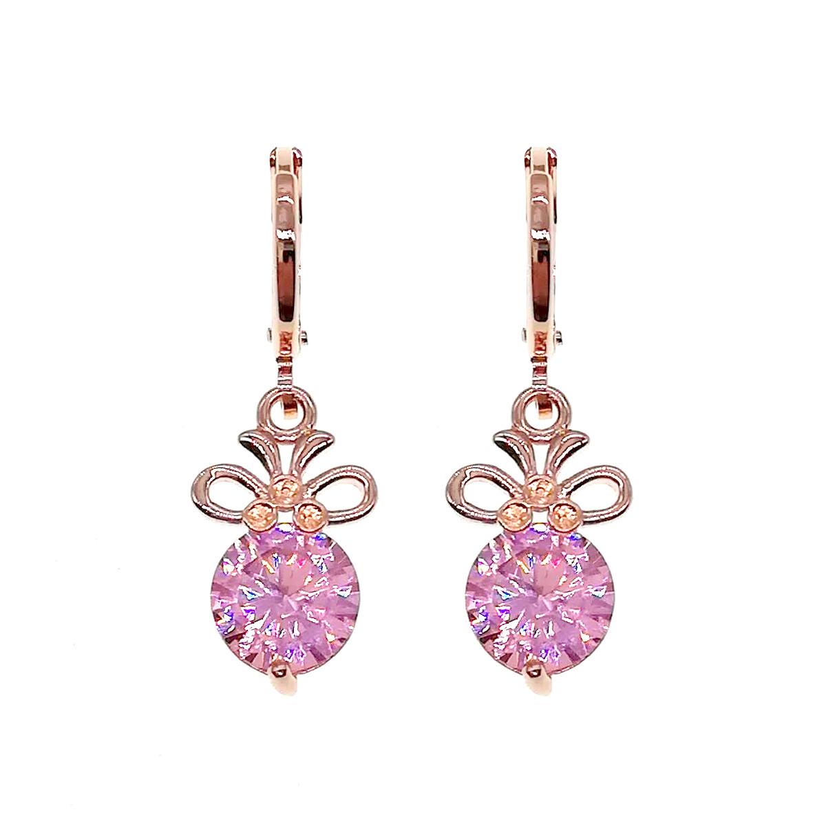Серьги SONATA из медицинского золота, розовые фианиты, позолота PO, 24056