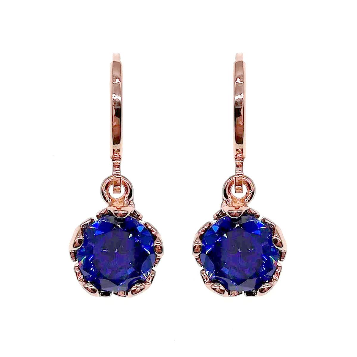 Серьги SONATA из медицинского золота, синие фианиты, позолота PO, 24041                               (1)