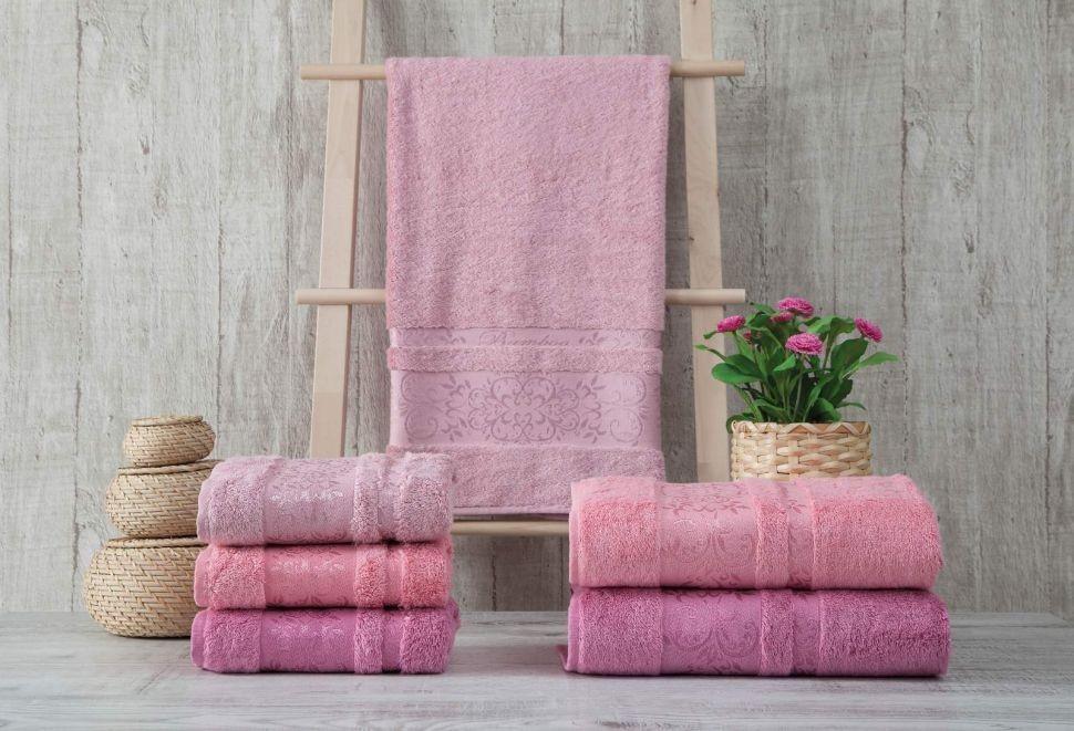 Набор махровых полотенец Zeron Бамбук 50х90 (3шт) розовый
