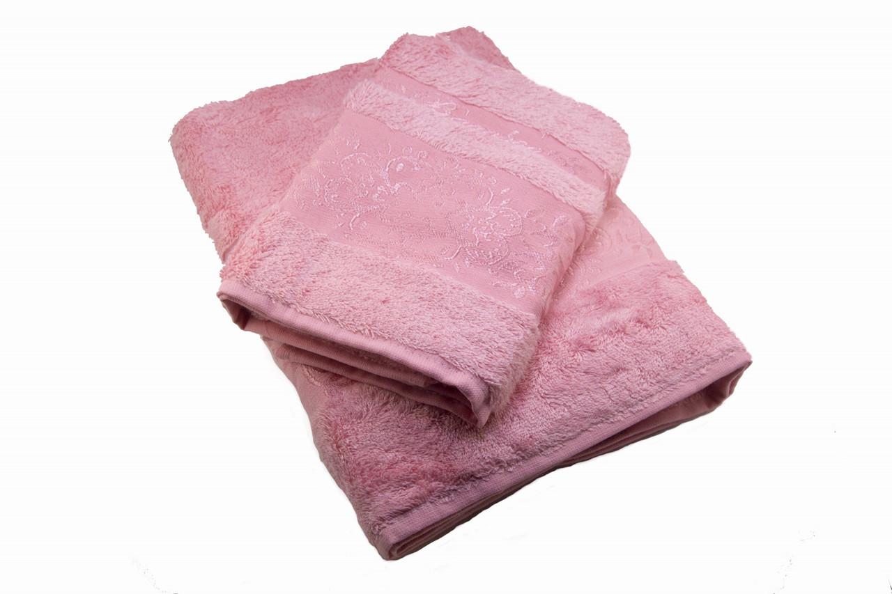 Набор махровых полотенец Zeron Бамбук 50х90, 70х140 розовый