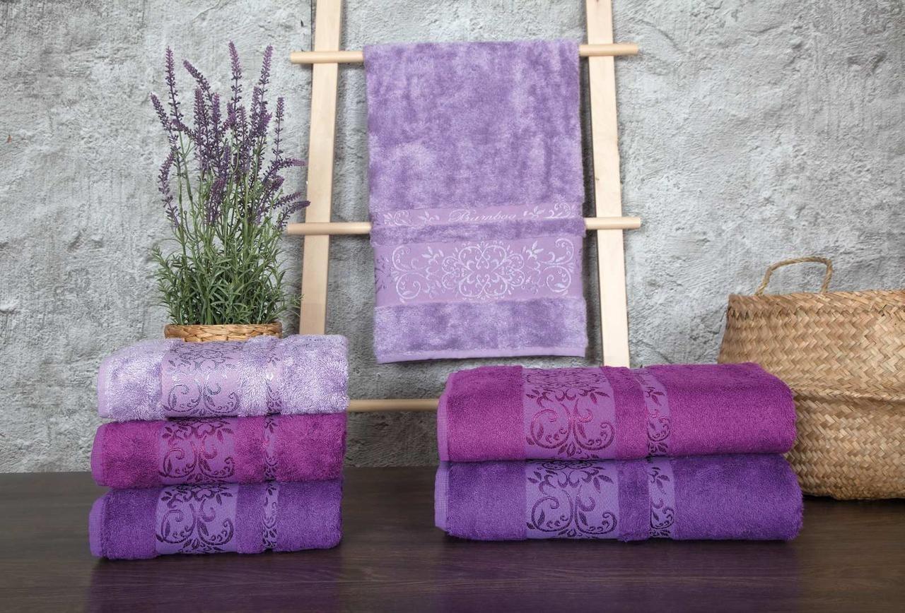 Набор махровых полотенец Zeron Бамбук 70х140 (3шт) фиолетовый