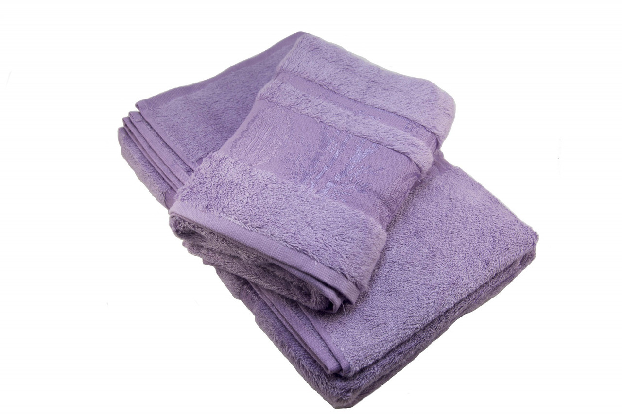 Набор махровых полотенец Zeron Бамбук 50х90, 70х140 сиреневый