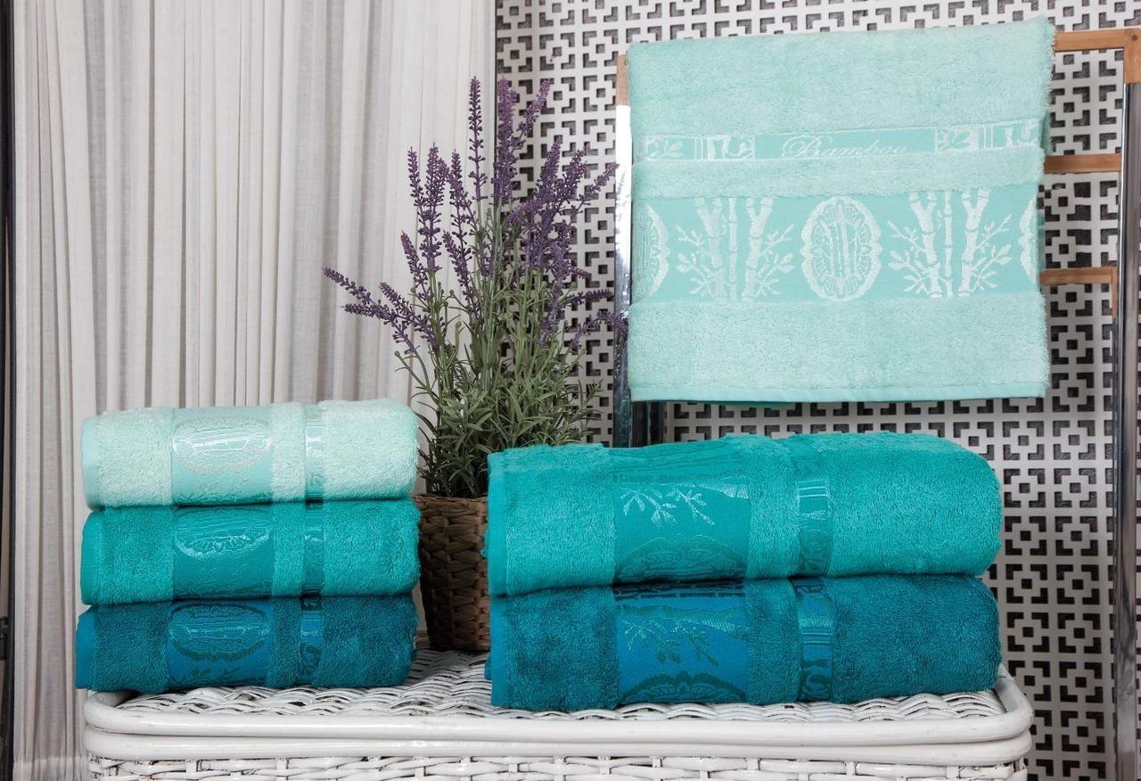 Набор махровых полотенец Zeron Бамбук 70х140 (3шт) бирюзовый