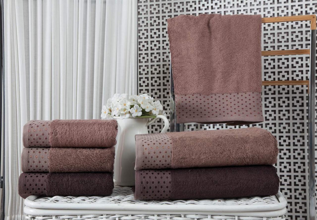 Набор махровых полотенец Zeron Бамбук 70х140 (3шт) коричневый