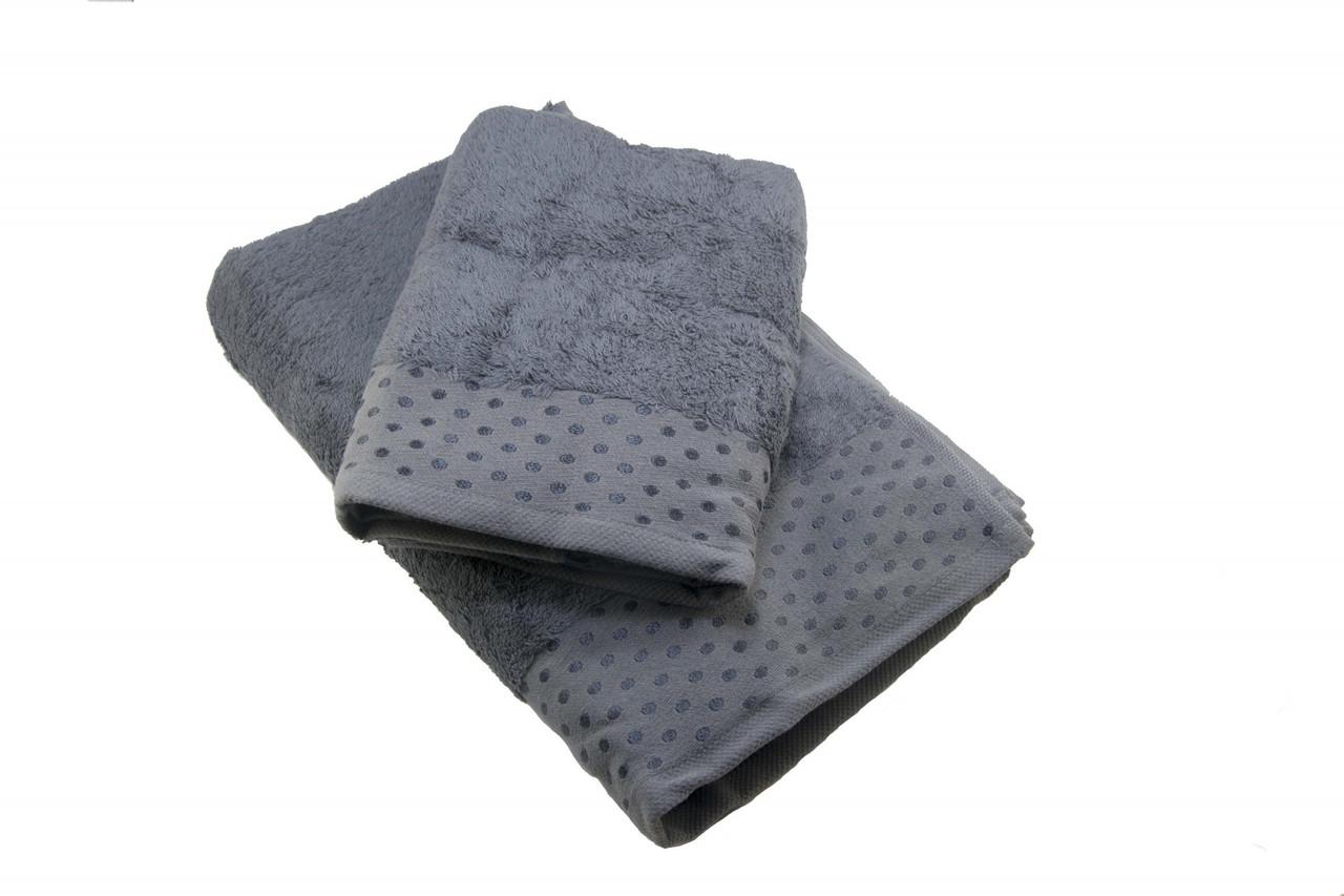 Набор махровых полотенец Zeron Бамбук 50х90, 70х140 темно-серый