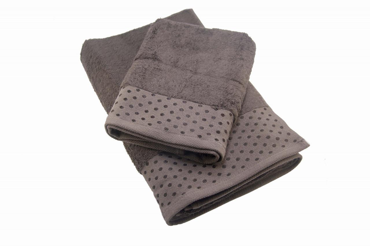 Набор махровых полотенец Zeron Бамбук 50х90, 70х140 темно-коричневый