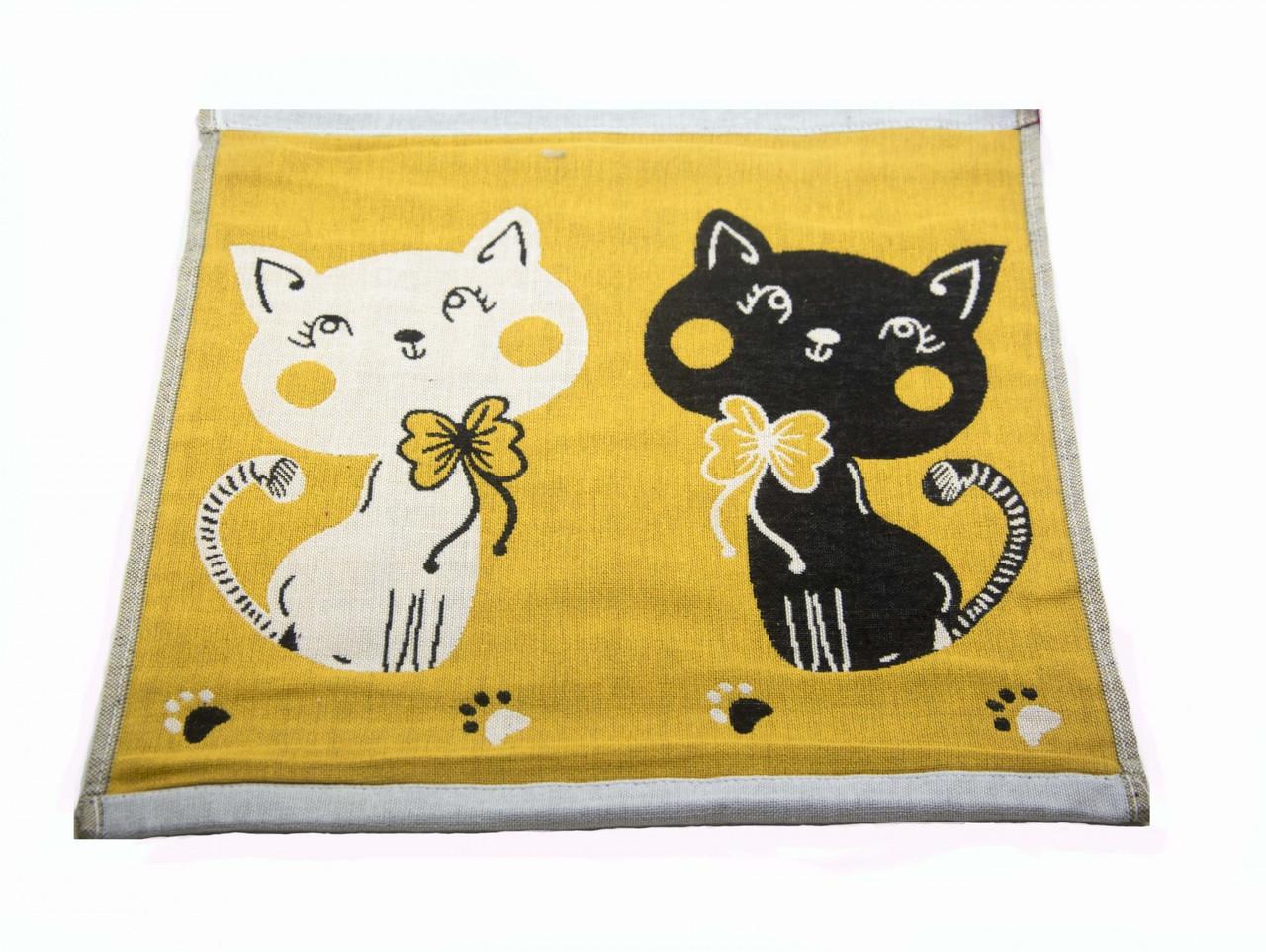 Набор хлопковых кухонных полотенец Koloco 35x35 (4шт) Котики желтый