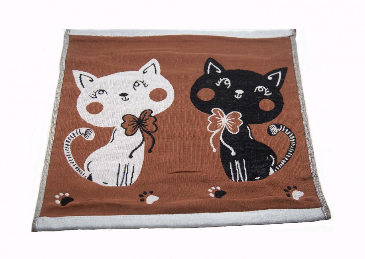 Набор хлопковых кухонных полотенец Koloco 35x35 (4шт) Котики коричневый
