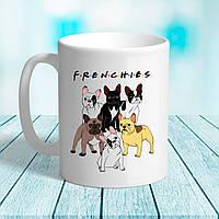 Біла кружка (чашка) з принтом FRENCHIE Французький бульдог
