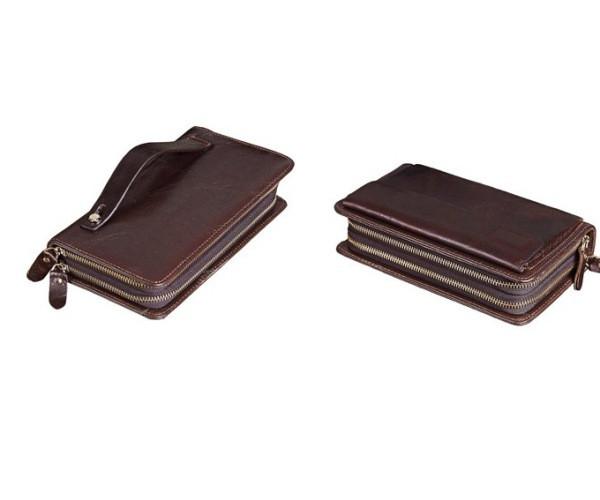 клатч кожаный мужской коричневый