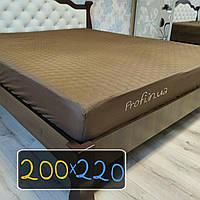 Наматрасник 200х220 см., коричневый стеганый с тканевым бортом