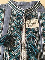 Вишиванка чоловіча ручної роботи синій льон короткий рукав розмір 54