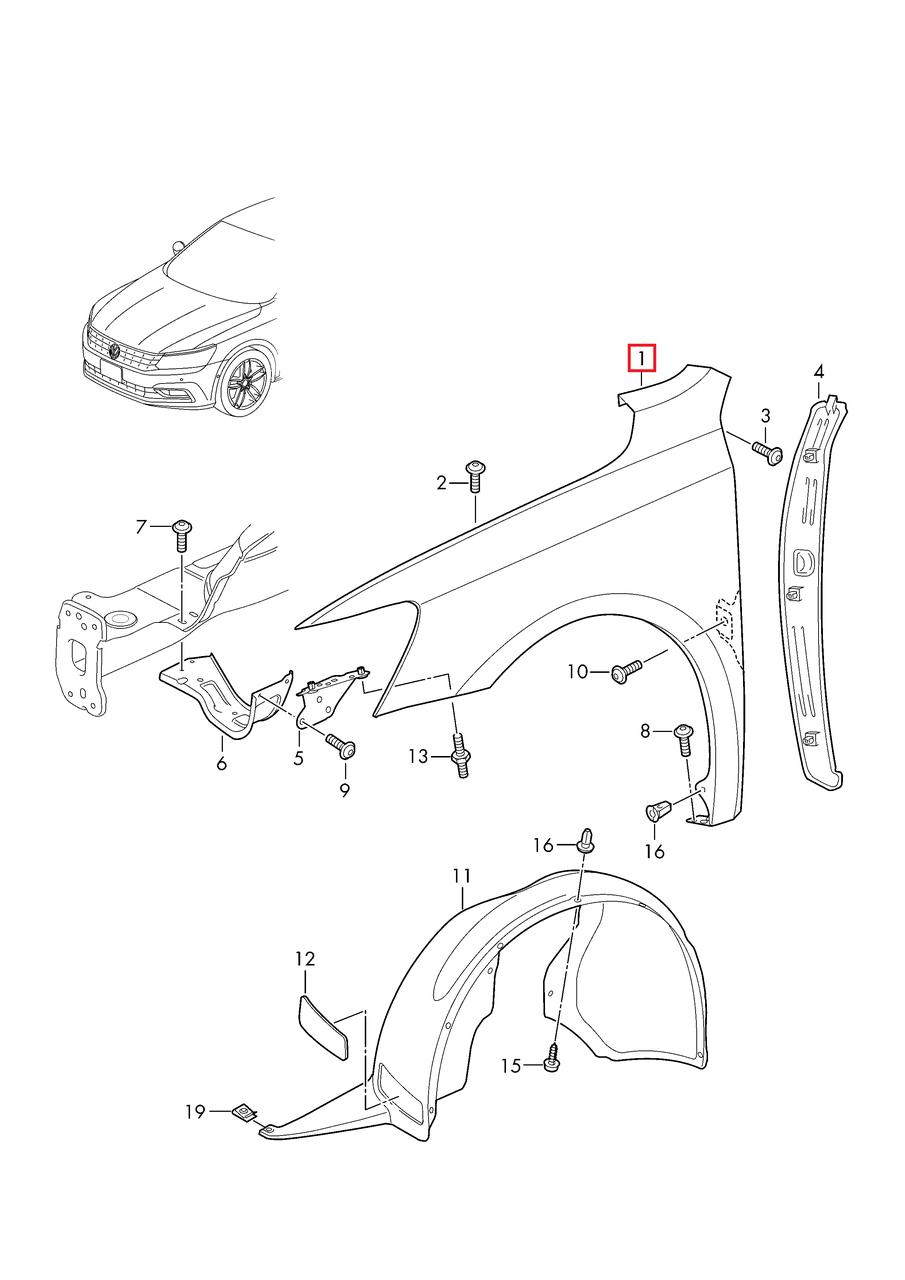 Крыло переднее правое VW Passat B8 USA 2015-2018     561821022A