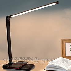 Настольная лампа  LED светильник с беспроводной зарядкой QI 2 в 1 USB black (Оригинал 2019), фото 3