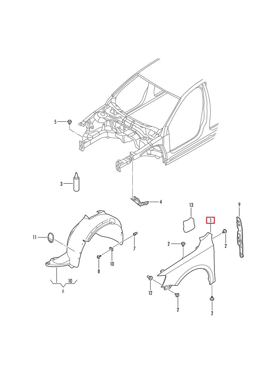 Крыло переднее правое VW Jetta 2011-2018 USA     5C6821106A