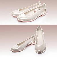 36,38,39,40,41 Модные женские кожаные балетки мюли летние с перфорацией капучино KLR2205